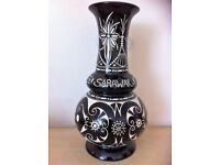 15 inch black and white Sarawak vase pottery