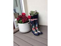 Joules flowery printed ladies welly boots size 6 (39)
