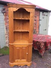 Tall Pine Corner Shelf Cabinet