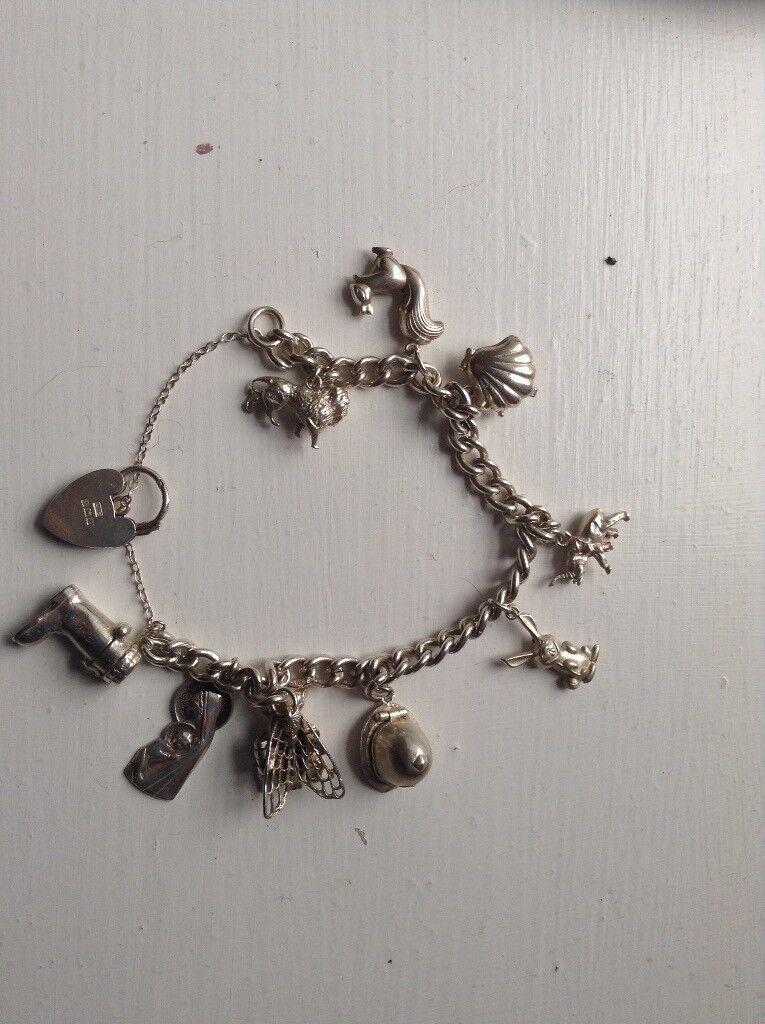 Solid silver charm bracelet
