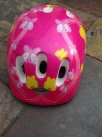 Girls Raleigh cycling helmet pink/yellow butterflies aged 4-8yrs