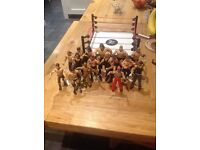WWE ring and 15 action figures in good used condition. Collection only from Cardiff.