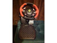 Xbox1 Ferrari steering wheel and pedals