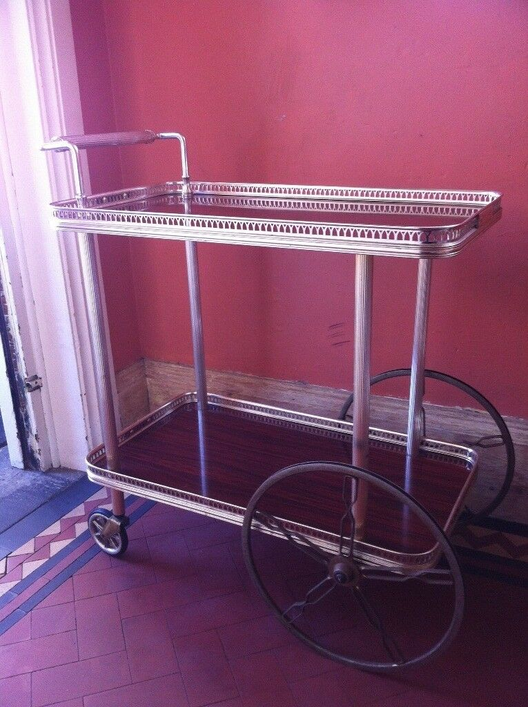 Vintage Retro Bar Cart Hostess Trolley Table Shelves W