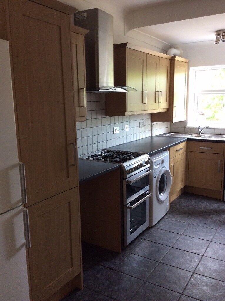 Used Kitchen Pull Out Larder Many Cabinets Sink Tap Washing Machine Stove Dishwasher Countertop
