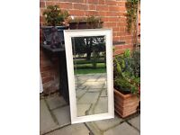 Antique mirror with beveled edge glass painted vintage ivory