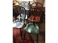 ANTIQUE STYLE WINDSOR CHAIRS WITH CRINOLINE STRETCHERS SET OF 4 PAINTED...