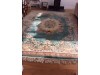Chinese /oriental rug. Beautiful quality , thick pile. Soft green/pink floral design.
