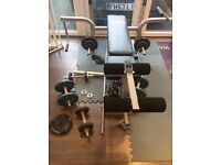 Perfect home gym set. Weight bench and metal weights and bars 108 kg in total