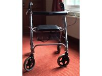 4 wheel mobility rollator, folding, with basket and seat, in excellent condition. £25