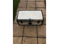Vintage metal strong box trunk