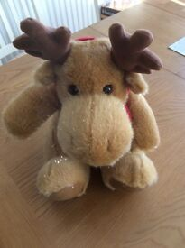 """Christmas Moose sparkly 13"""" tall with scarf"""