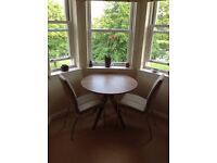John Lewis Radar 4 Seater Round Dining Table, Walnut + 2 Chairs