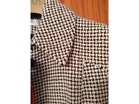 Women's Black & White Houndstooth Pattern Coat Size 14 BNWT