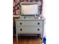 vintage, shabby chic dressing table in light blue