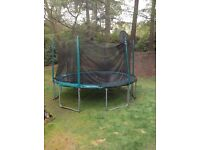 14ft Trampoline - with enclosure & basketball hoop
