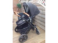 Joolz Geo Tailor Collection Black with Tan Leather Details Pram