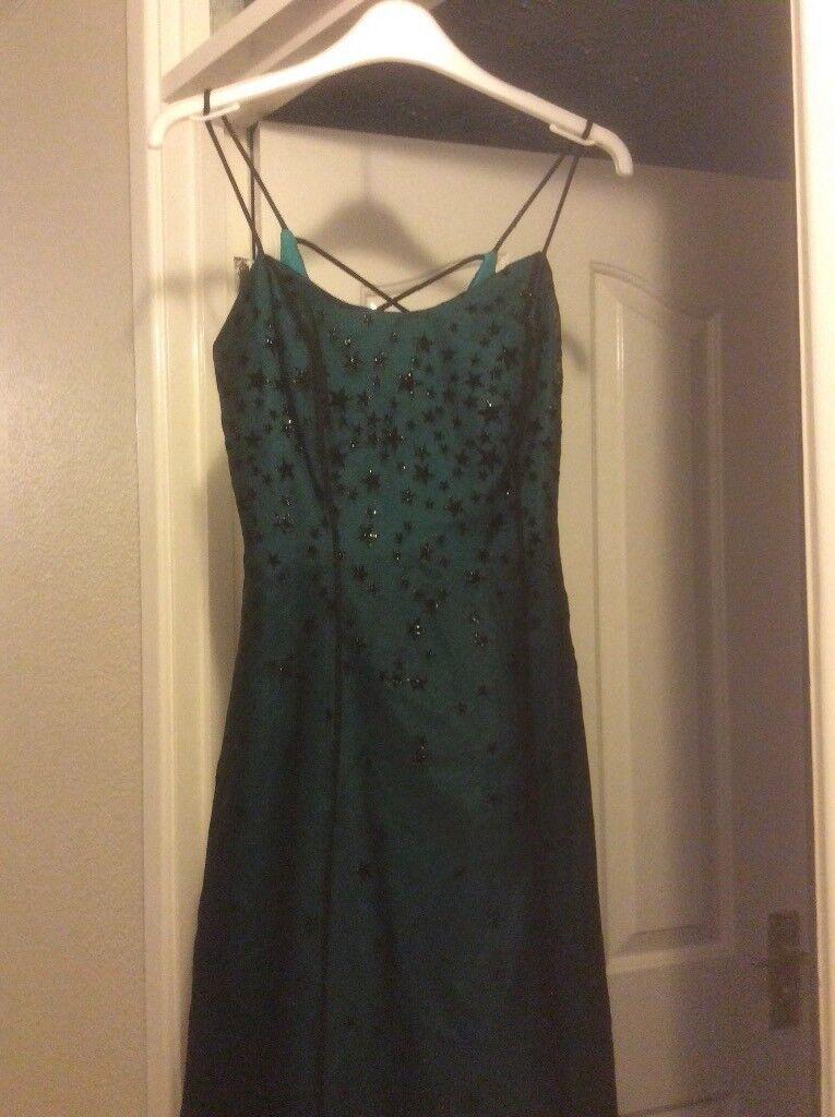 Dark Teal Prom Dress With Fine Overlay In Grange Park Wiltshire