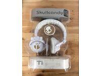 Skullcandy TI White / Gold Headphones New