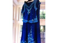 Pure chiffon embroidered asian party dress with scarf dark blue - Asian outfit