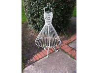 SHABBY CHIC white metal wire Mannequin dress makers Dummy adjustable height