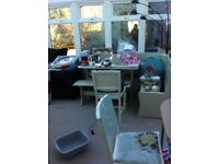 Shabby chic cream seats 7 corner kitchen / dining table bench