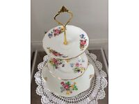 Pretty Pink/Blue/Yellow Floral Vintage Bone China 3 Tier Cake Stand