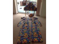 Childs Teddy bedroom set - single bed set, curtains and headboard