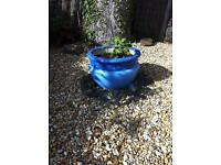 Large stoneware garden pot painted lovely Moroccan blues