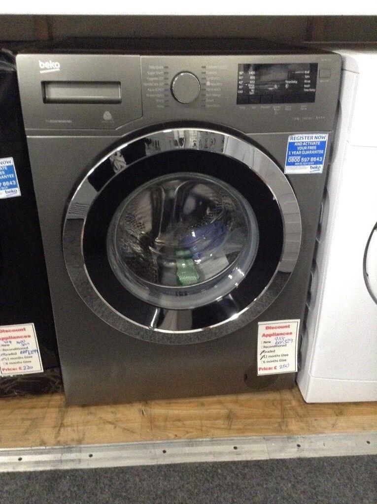 Beko 9kg 1400 spin washing machine RRP £329. 12 month g