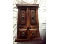Dark Indian wood solid key cupboard (wallhanging optional) £19