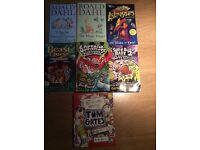 A collection of children's books including Roald Dahl, captain underpants and Tom gates