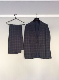 moss bros slim fit check suit