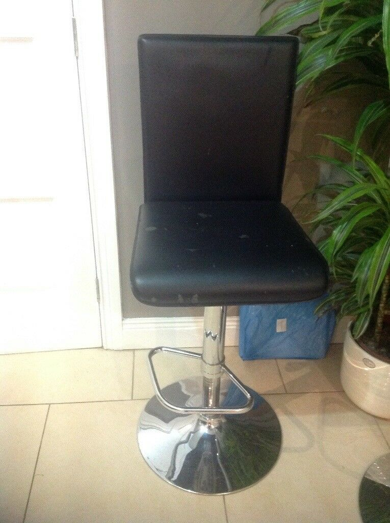 Breakfast Bar stool, black, used, gas lift adjustable height lever, steel footrest silver base.