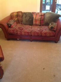 Tetrad sofa and chair + footstool good condition look