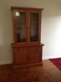 American cherry wood display cabinet and base
