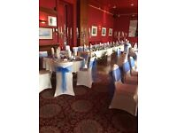 50 Chair Covers with sashes fitted at your venue only £100. Centrepieces & bespoke accessories