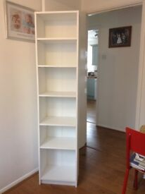 White book shelves