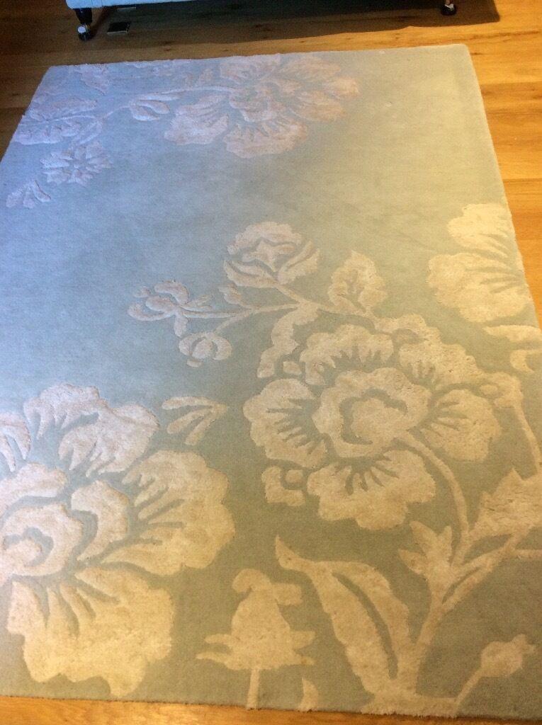 Laura Ashley Eau De Nil Wool Rug And Matching Sofa