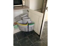 Three Compartment Bin System for Kitchen Cupboard