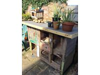 Small animal hutch - hand painted & a new roof