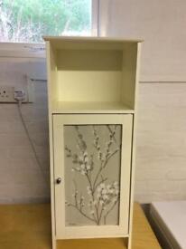 Bathroom/ cabinet Floor standing.Cupboard with glass door and open shelf.