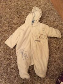White fleecy winter suit 0-3 mths