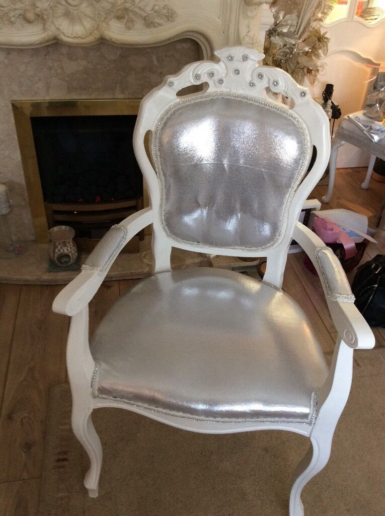 Vintage White Louis Dressing Table Chair In West Derby