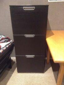 3 drawer black ash filing cabinet
