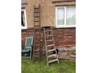 Wooden double ladder