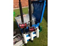 Two boat fishing rods and reels plus tackle