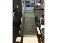 Silver finish mirrored sliding wardrobe doors X2 (223cm x 92cm)
