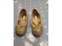 Trotters gold glitter leather party pumps size 25