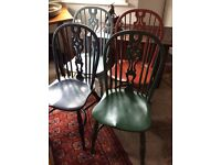 ANTIQUE STYLE WINDSOR CHAIRS WITH CRINOLINE STRETCHERS SET OF 4...